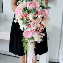 Bridal-Bouquet Waterfall Wedding-Flowers Rose Flower-De-Mariage Artificial Pink Peony