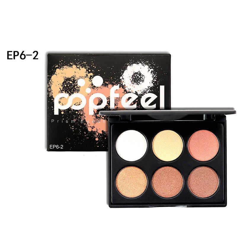 Popfeel 6 kolorów paleta cieni do powiek profesjonalny wodoodporny brokatowy błyszczący cień do powiek makijaż puder mineralny zestaw kosmetyków pigmentowych
