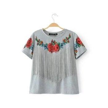 grey round neck fringed printed womens tshirt