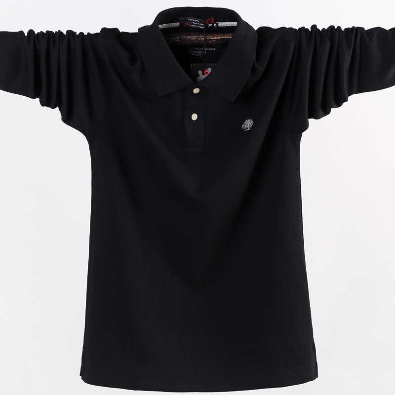 Hombres Polo camisa hombres negocios Casual sólido hombre Polo camisa de manga larga alta calidad puro algodón otoño ropa de marca grande tamaño 6XL