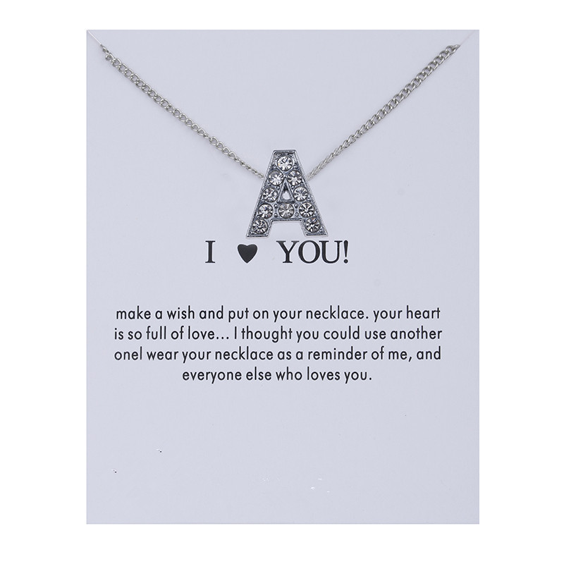 Dogeared Necklace with Card High Quality 26 English Letter I Love You Noble and Delicate Choker Valentine Christmas Gift|Chain Necklaces| - AliExpress