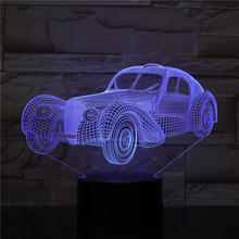 Elegante Vintage coche 3D lámpara Cool regalo para niños para el Festival de luz Multi-color con control remoto Led lámpara de luz nocturna