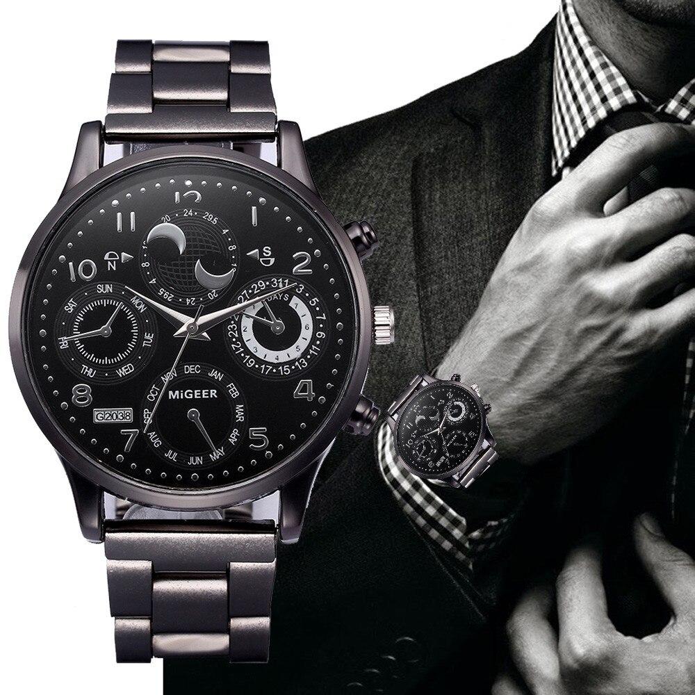 2019 Watch Men Fashion Crystal Stainless Steel Analog Quartz Wrist Watch Bracelet Relogios Masculino Erkek Kol Saati Zegarek Q7