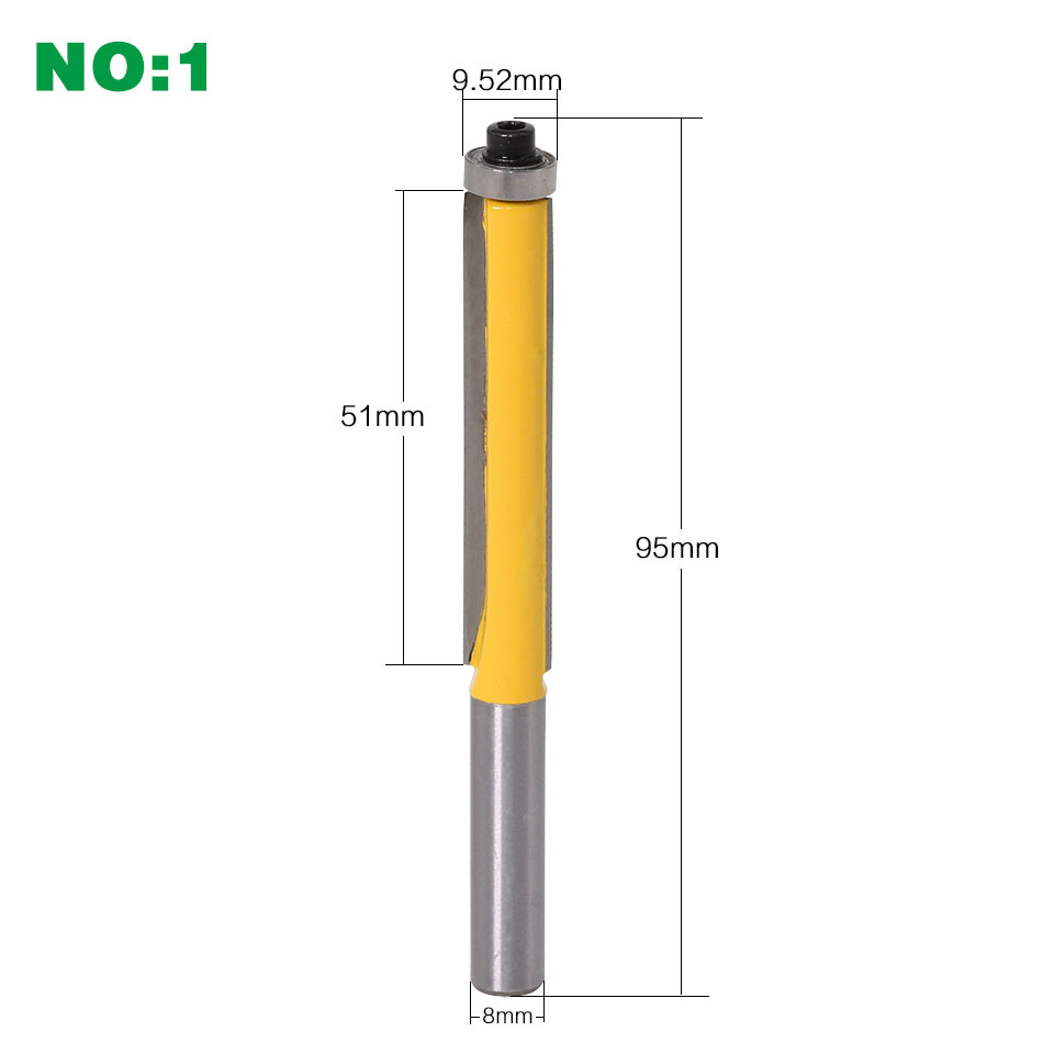 """Image 2 - 8mm Shank 2"""" Flush Trim Router Bit with Bearing for Wood Template Pattern Bit Tungsten Carbide Milling Cutter for Wood-in Milling Cutter from Tools"""