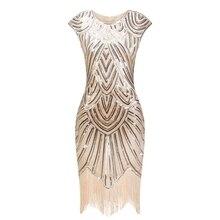 1920s robe à clapet magnifique Gatsby robe col rond manches Sequin frange fête robe Midi Vestido De Verano été femmes robe