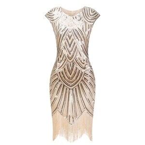 Image 1 - 1920s sukienka Flapper sukienka w stylu wielki Gatsby O Neck krótki kimonowy rękaw cekiny Fringe do kolan na imprezę sukienka Vestido De Verano letnie kobiety sukienka