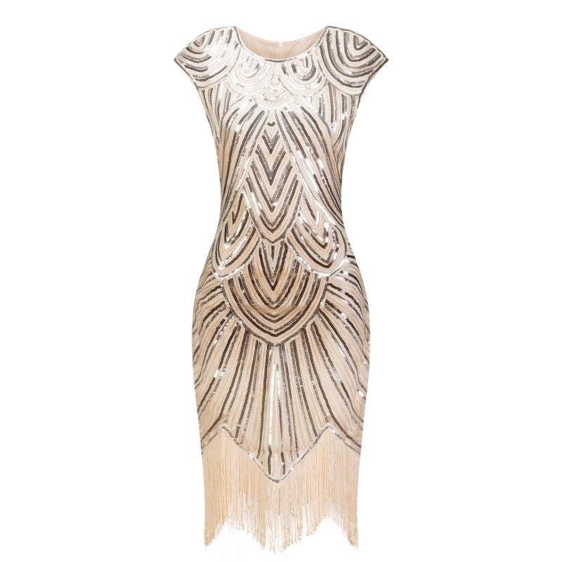 1920s Хлопушки платье Великий Гэтсби, платье с О-образным вырезом, платье Кепки рукавом блесток бахромой вечерние миди платье Vestido De Verano летнее...