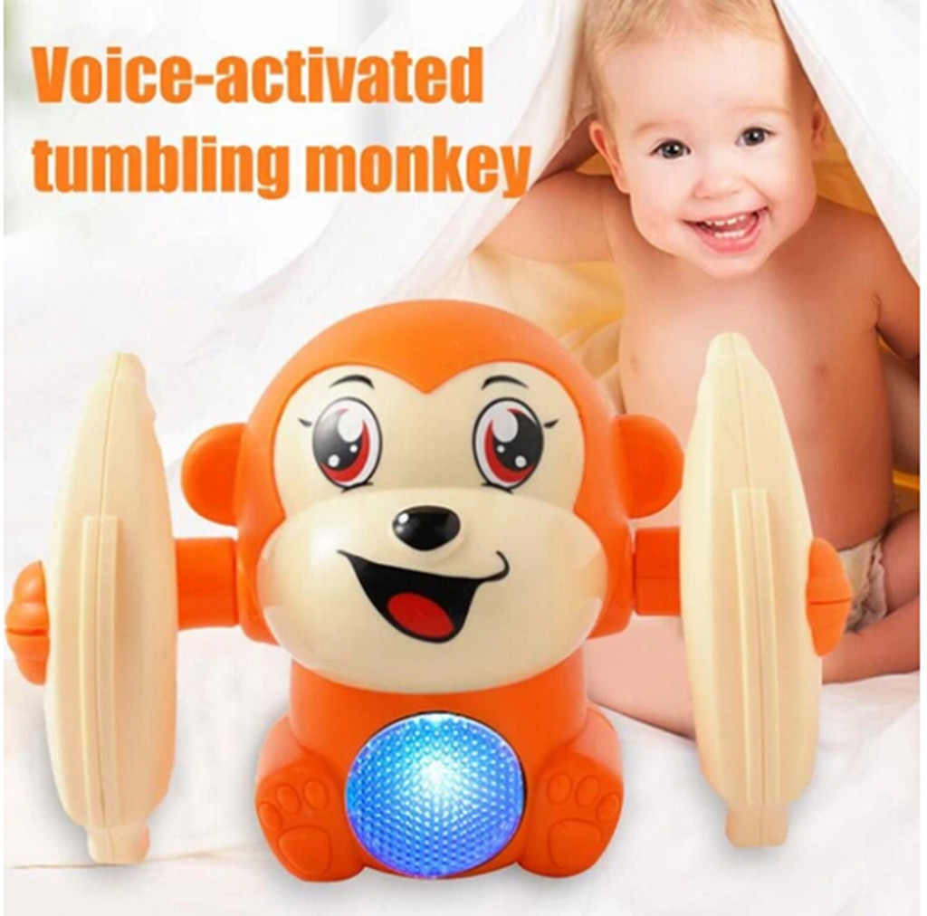 Baby Voice Control Rolling Little Monkey Toy Walk Sing Brain Game Electrical Toys Funny Kids Toys Brinquedos Juguetes игрушки