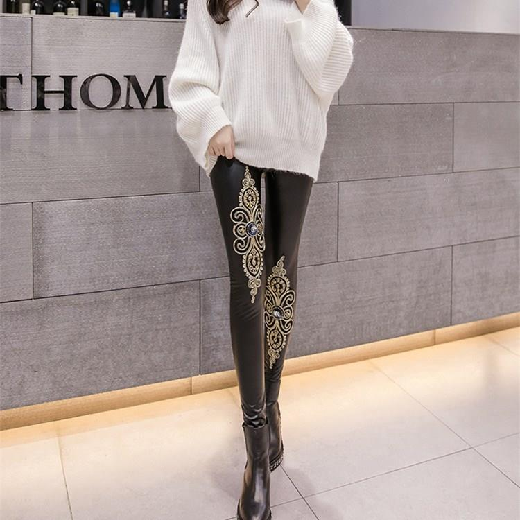 Black Gothic Embroidery High Waist Elastic Leather Leggings Women Sexy Pu Leather Pants Skinny Pants Floral Female Leggins