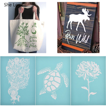 She Love Turtle Flower Printed Silk Screen Stencils 2019 New