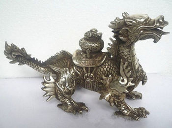 Collectibles Huge Tibetan Silver luck Dragon Statue