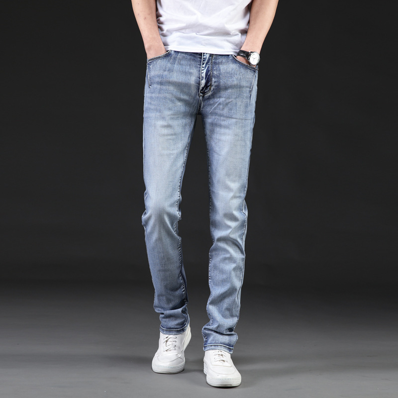 Summer Men'S Wear Lard-bucket Casual Jeans BOY'S Korean Style Slim Fit Stylish Loose Wear Versatile Elasticity Casual Cowboy Lon
