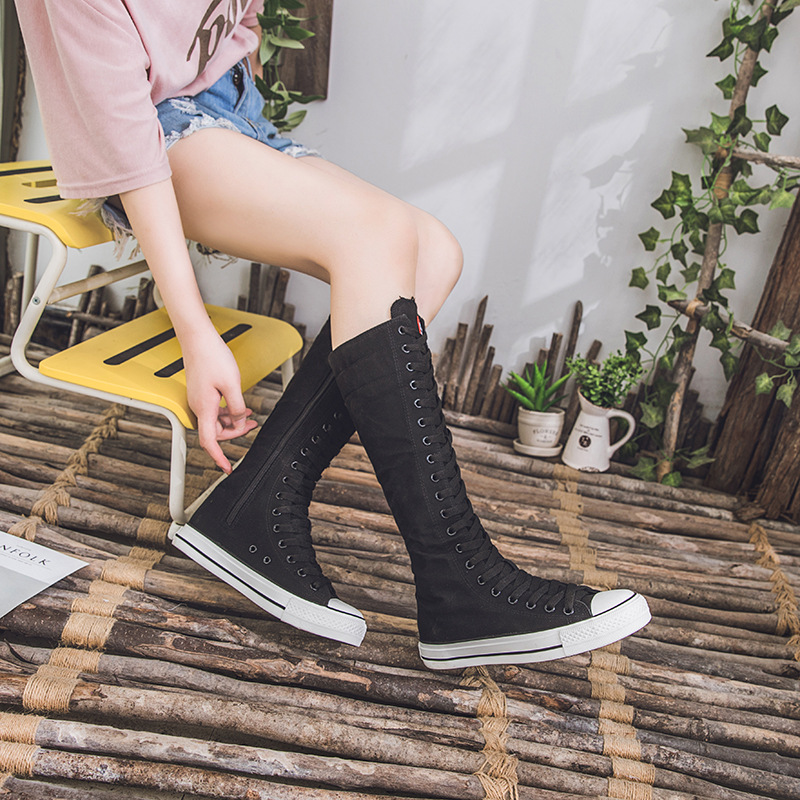 2019 New Spring Autumn Women Shoes Canvas Casual High Top Shoes Long Boots Lace-Up Zipper Comfortable Flat Boots Sneakers