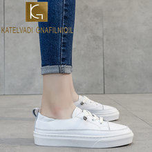 Katelvadi Vrouwen Sneakers 2020 Lederen Casual Schoenen Mode Witte Sneaker Ronde Neus Lace-Up Platform Zapatillas Mujer CH001(China)
