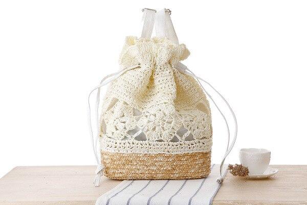 Verão de malha flor cordão saco crochê