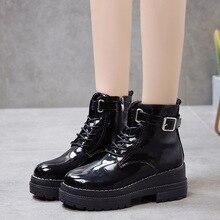 Mujer Fashion Platform Shoes Women Punk Black Gothic Ankle Boots Womens Platform