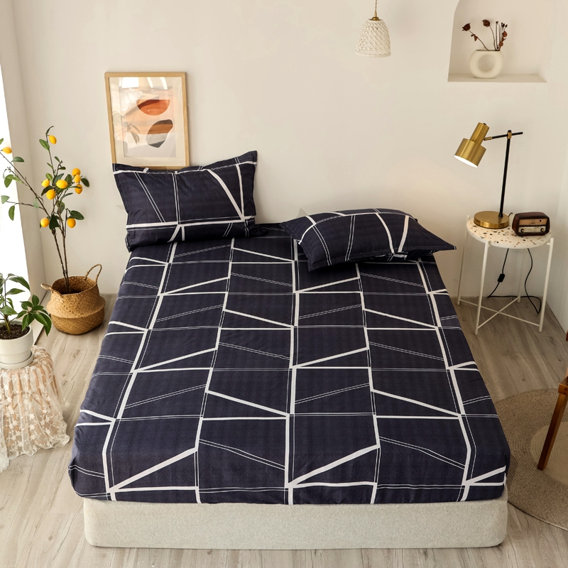 Bonenjoy 3 pcs Fitted Bed Sheets Single drap de lit Geometric Pattern Stitching Mattress Cover with elastic For Double Bed Sheet 2