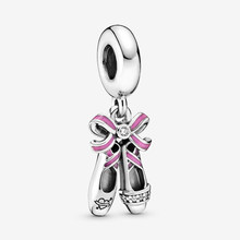Free Shipping 925 Sterling Silver Pink Ballerina Shoes Hanging Charms Fit Original Pandora Bracelet For Women DIY Jewelry Beads(China)