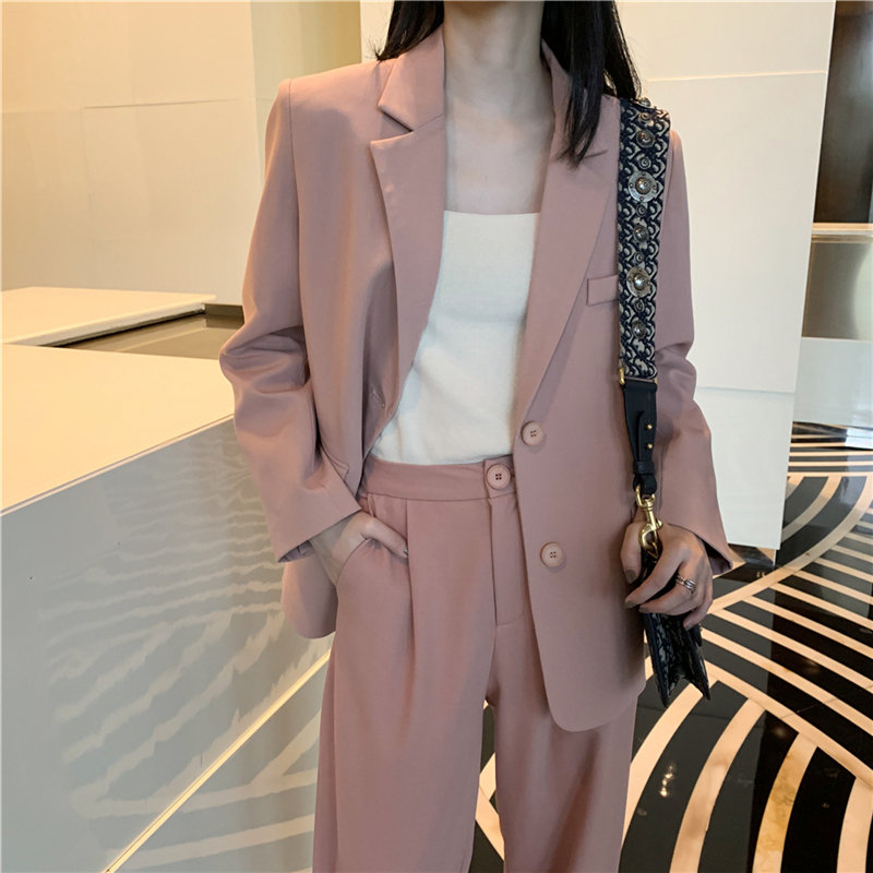 HziriP Elegance Women 2020 Slim Solid OL Slender Casual Blazers+ Straight Pants Office Lady All Match Set 2 Piece Sets Suits