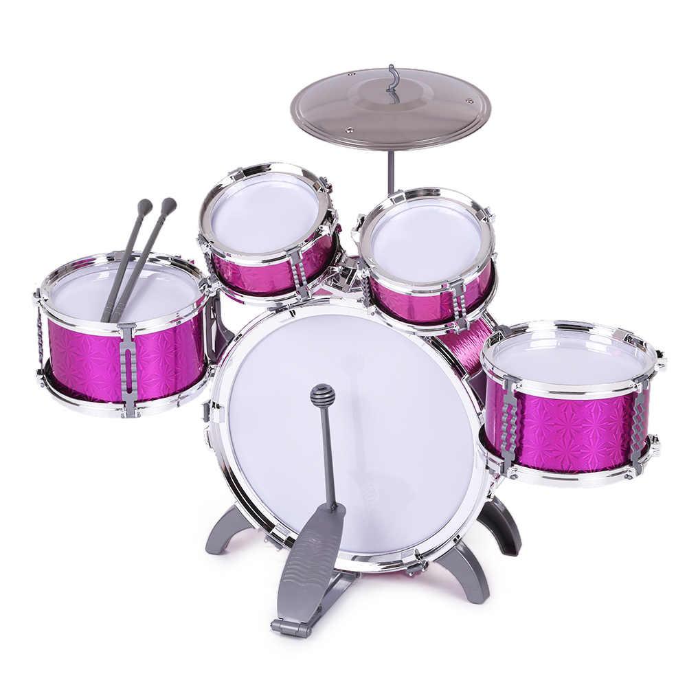 Bambini Bambini Jazz Drum Set Kit Strumento Musicale Educativo Giocattolo 5 Batteria + 1 Cembalo con Piccolo Sgabello Tamburo Spiedi per I Bambini