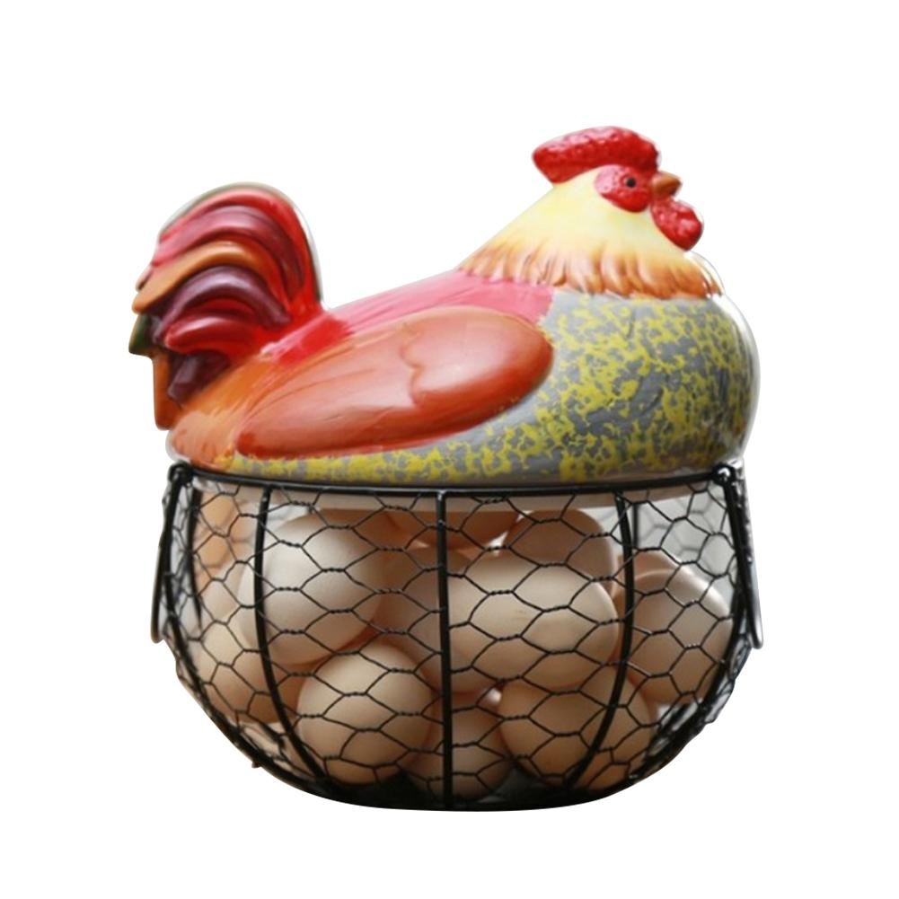 Iron Egg Storage Basket Snack Fruit Egg Basket Creative Ceramic Hen Ornaments Decoration Kitchen Storage Eggs Holder