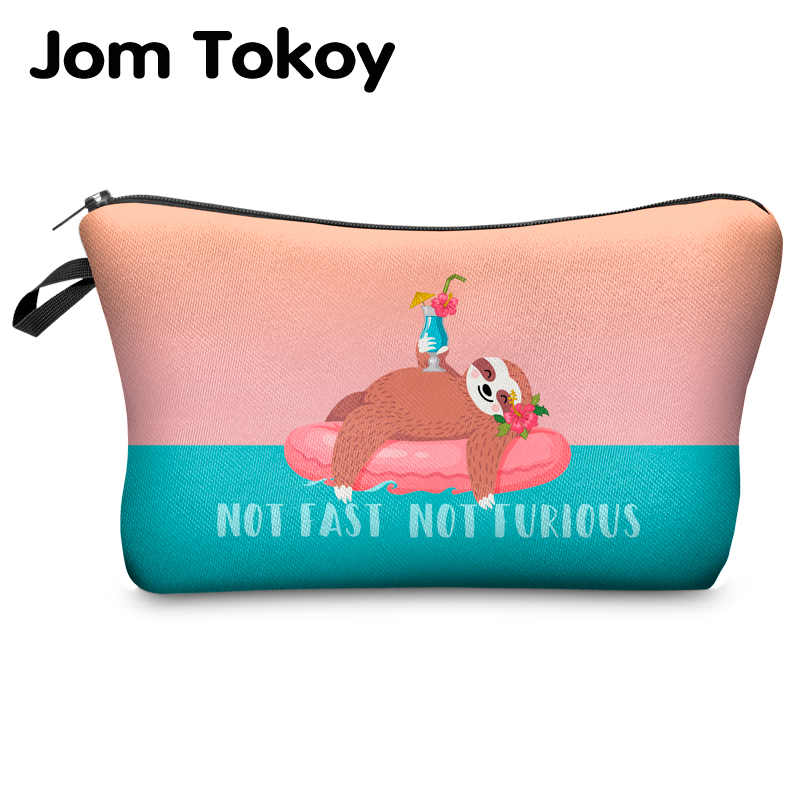 Jomtokoy Women Cosmetic Bag Sloth Pattern Digital Printing Toiletry Bag For Travel Organizer Makeup Bag Hzb1011