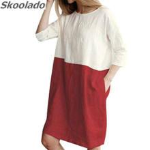 Новейшее удобное льняное Хлопковое платье повседневные женские