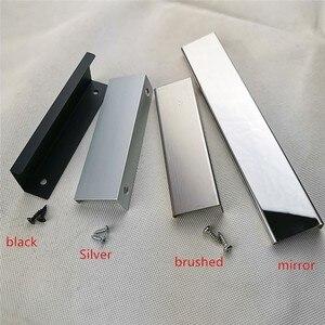 Black Silver brushed mirror Hidden Cabinet Handles Stainless steel Kitchen Cupboard Pulls Drawer Knobs Furniture Handle(China)