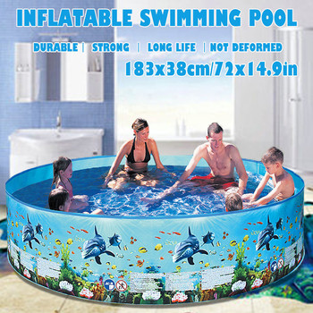72inches Children's swimming pool Blow Up Pool for Family Kids Backyard Foldable Activity & Gear
