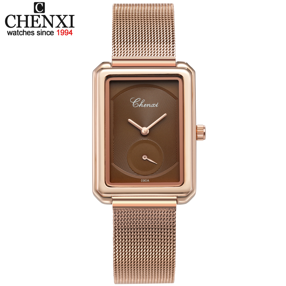 2020 New Women Watch Luxury Brand CHENXI Leather & Steel Band Waterproof Watches Simple Clock Quartz Wristwatches Montre Femme