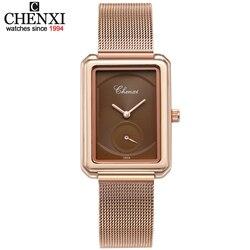 2021 Nieuwe Vrouwen Horloge Luxe Merk Chenxi Leather & Steel Band Waterdichte Horloges Eenvoudige Klok Quartz Horloges Montre Femme