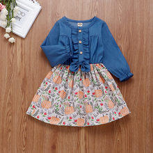 Baby Girl Dress 2019 Autumn Fall European And American Fashion Baby Above Knee Dress Girls Print Bow Tie Princess Dress For Girl(China)