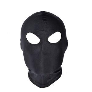 Image 4 - SexyToys otwarte usta oczu Bondage strona maska Cosplay niewolnik karać nakrycia głowy maska egzotyczne odzież Sex produkty BDSM fetysz maska kaptur