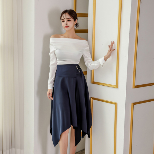 Skirt Set 2 Piece Satin Off Shoulder White Tops Long Sleeve Blouse And Dark Blue Irregular Long Skirt Side Three Rows Of Buckles