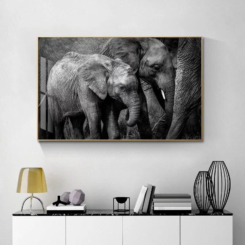 Черно белые Африканские слоны холст картины постеры и принты