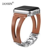 JANSIN جلد طبيعي حلقة دائرية ل أشرطة ساعة أبل 38 مللي متر 42 مللي متر 40 مللي متر 44 مللي متر سوار حزام ل iWatch سلسلة 6 SE 5 4 3 النساء/الرجال