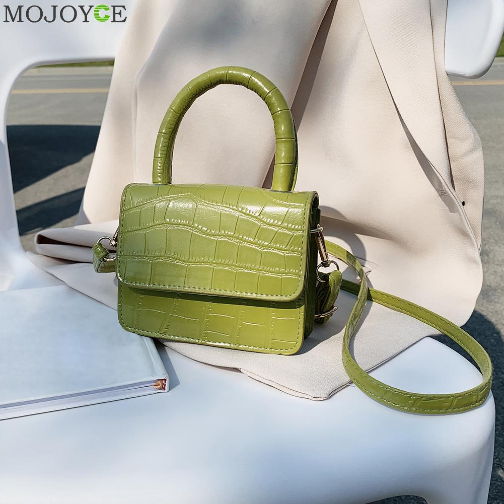 PU Leather Mini Shoulder Handbags Lady Stone Pattern Casual Pure Color Flap Tote Messenger Bags Women Fashion Pure Color Flap