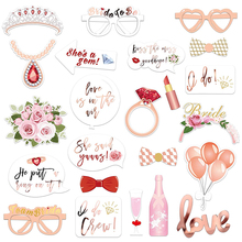 23pcs Wedding Bridal Shower Photo Booth Props Rose Gold Bachelorette Photo Booth for Girls Night Out Hen Party Gift Accessories