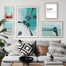 Wall Art Canvas Painting Pink Building Coconut Tree Sea Girl Nordic Posters And Prints Landscape Pictures For Living Room
