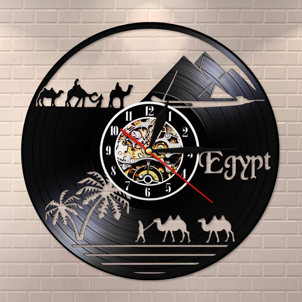 Egypt Theme Pyramid Vintage Vinyl Record Wall Clock Desert World Sahara Camel Decorative Wall Watch Unique Africa Travel Gift