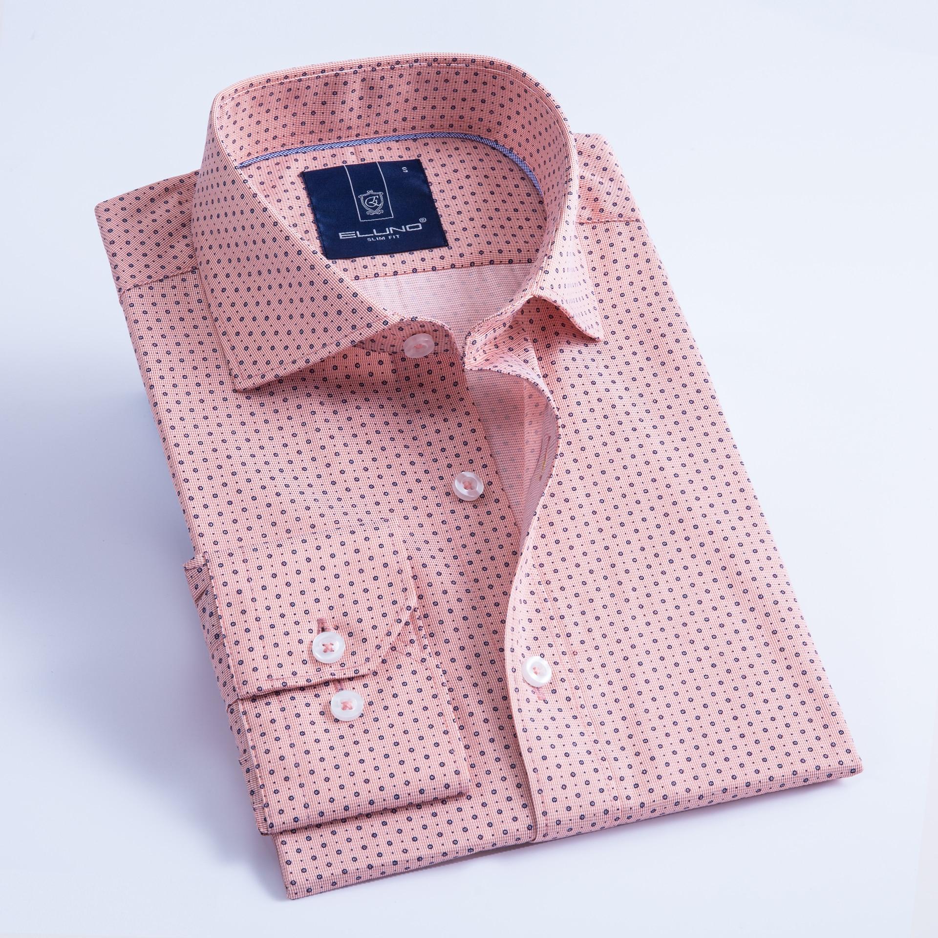ELUNO Fashion Casual Long Sleeved Printed Shirt Slim Fit Male Social Business Dress Shirt Brand Men Clothing Soft Comfortable