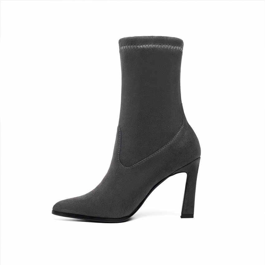QUTAA 2020 г. Замшевые женские ботильоны с острым носком леопардовая модная универсальная короткая женская обувь на высоком каблуке в форме копыта ботинки на меху размеры 34-43