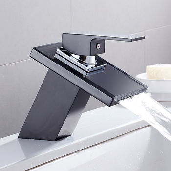 Glass Waterfall Basin Faucet for Bathroom The Black Deck Mount Square Vanity Sink Mixer Tap Bathroom Faucet Single Handle deck mount waterfall glass spout basin sink faucet square shape bathroom vessel sink mixer taps oil rubbed bronze