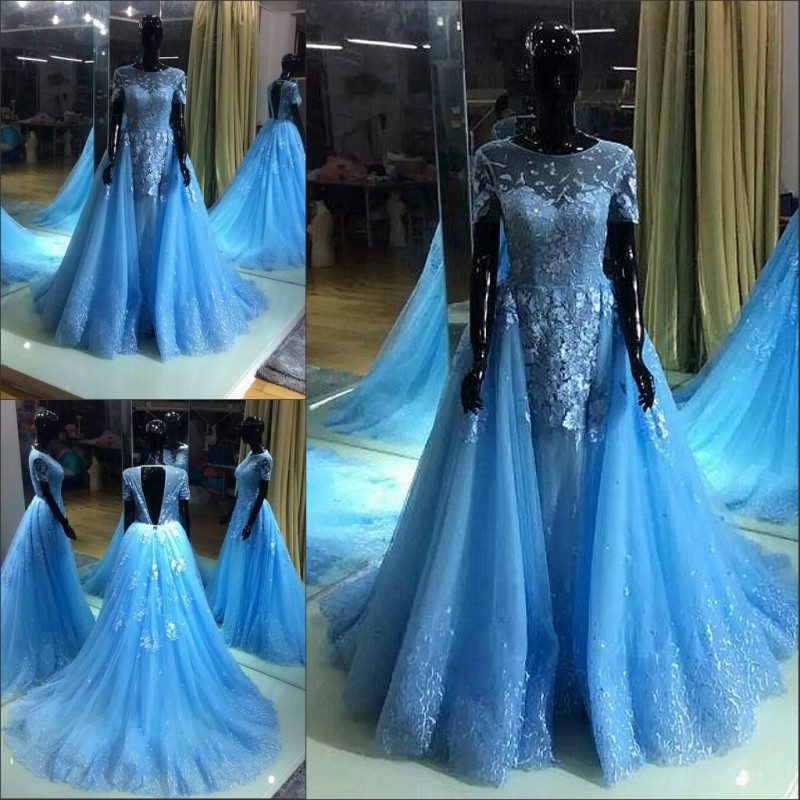 2018 Blue Long Prom Party Gown Backless Vestido De Noiva Longo Evening Lace Appliques Short Sleeve Mother Of The Bride Dresses