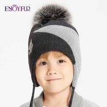 ENJOYFUR шапки с натуральным лисьим мехом и помпоном для мальчиков на зиму, теплые геометрические хлопковые детские вязаные шапки, толстые вязаные шапки с ушками для мальчиков
