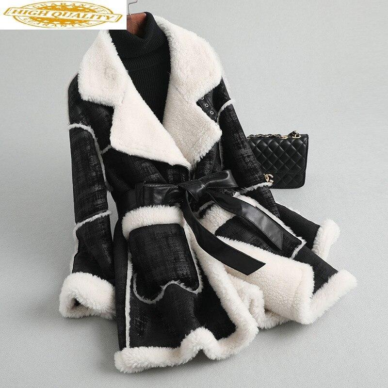 Real Fur Coat Female Faux Leather Jacket 2020 Winter Jacket Women 100% Wool Coats And Jackets Women Korean Outerwear MY