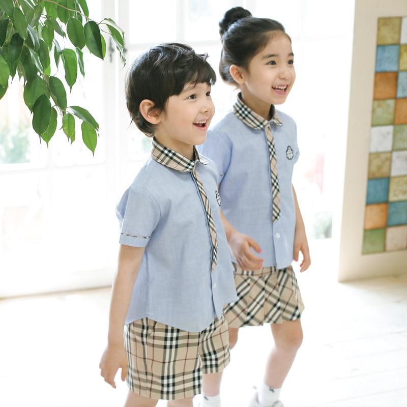Children Childrenswear BOY'S Girls' Summer Clothing 2019 England Kindergarten Suit Summer Wear Junior High School Young STUDENT'