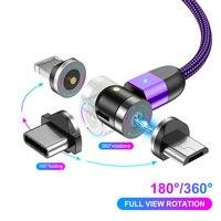 Lovebay 2M 360 ° + 180 ° di Rotazione Cavo USB Magnetico Micro usb Caricatore Del Telefono Mobile Cavo di Tipo C cavo di Ricarica Veloce Per il iPhone 11
