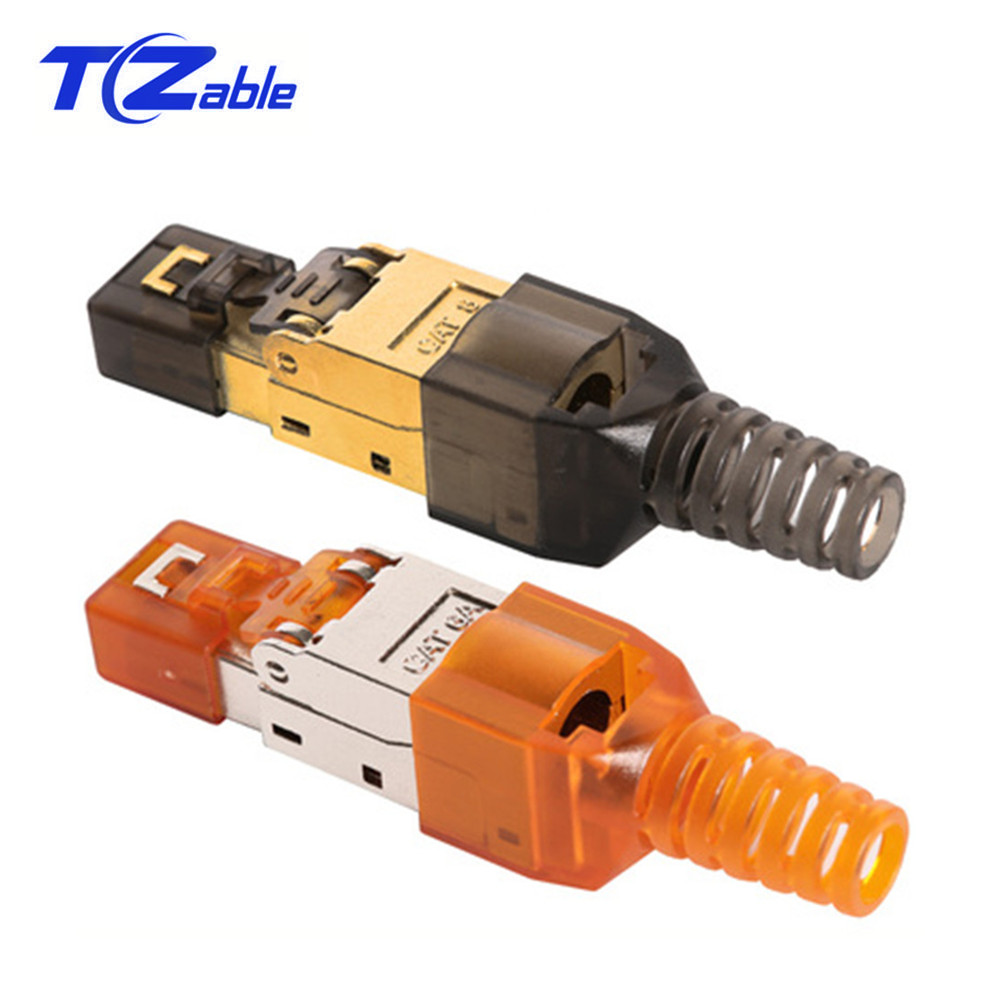 Cat6A Cat7 Cat8 Rj45 Connector Ethernet Plug Adapter Tool-Free Crimping Shielded Crystal Head 8P8C Network Ethernet Cable Plug