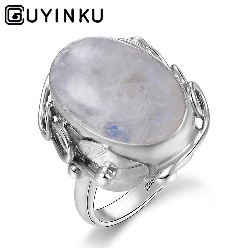 Fashion Oval Turquoise Moonstone Tibetan 925 Silver Ring Women Men Jewelry Gift